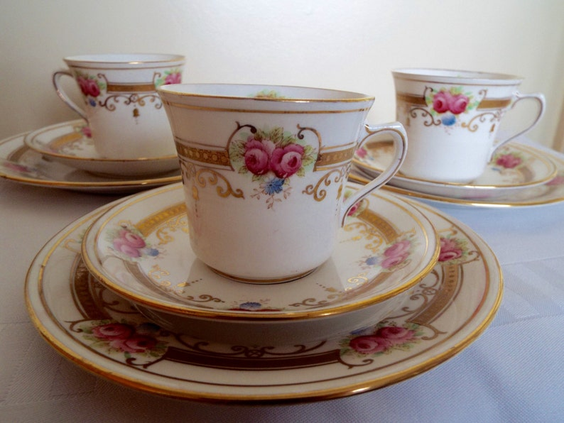 Vintage Tea Cup and Saucer Trio Hand Painted Royal Albert image 0