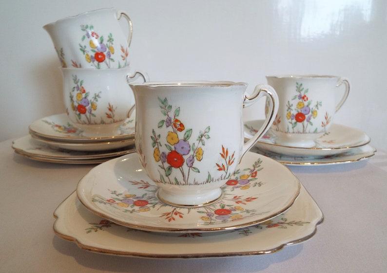 Vintage Standard China Flower Teacup Trio. Hand Painted 1930s image 0