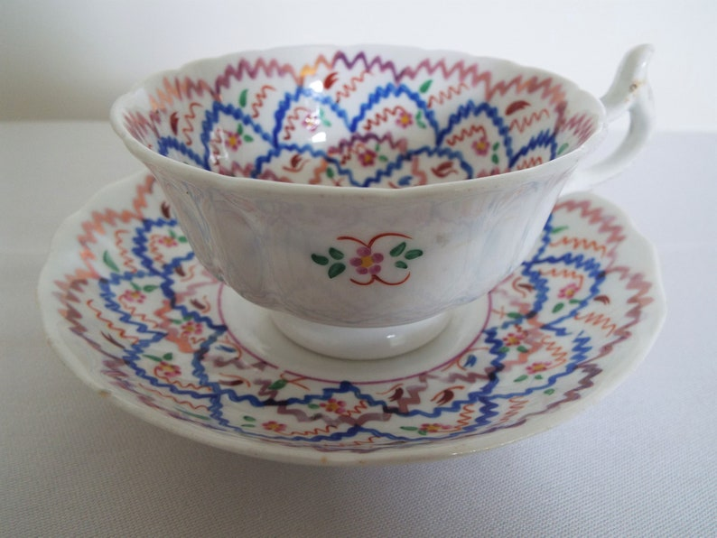 Pink Lustreware Teacup. Victorian Blue And Pink Tea Cup And image 0