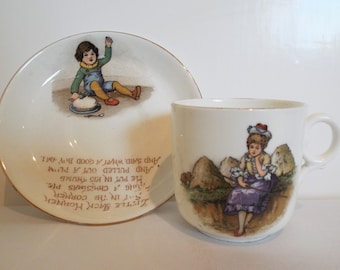 Vintage Tuscan Child's Teacup. 1910s Tuscan Nursery Rhyme Tea Cup And Saucer, With Little Bo Peep And Jack Horner. A Rare Christening Gift