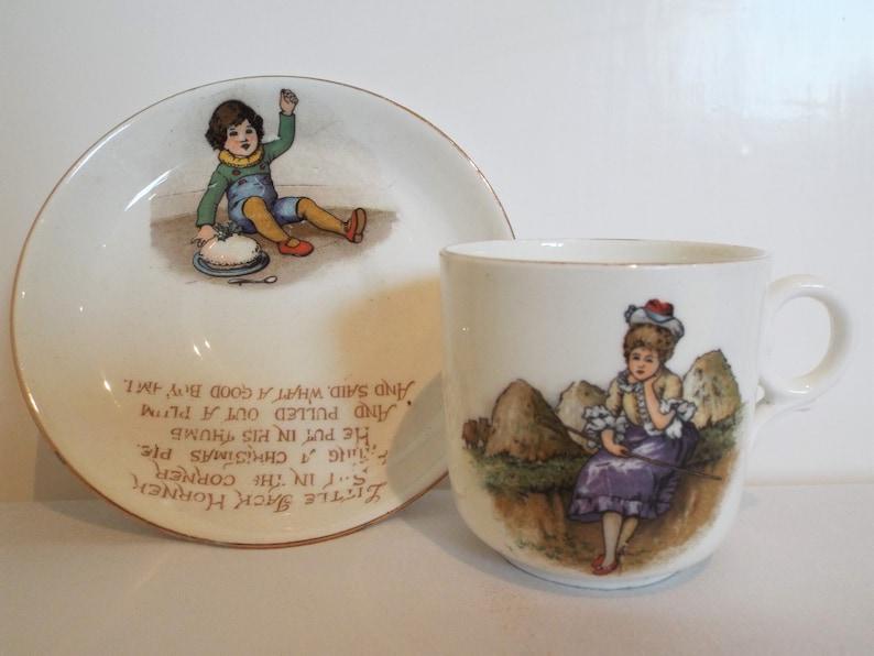 Vintage Tuscan Child's Teacup. 1910s Tuscan Nursery Rhyme image 0