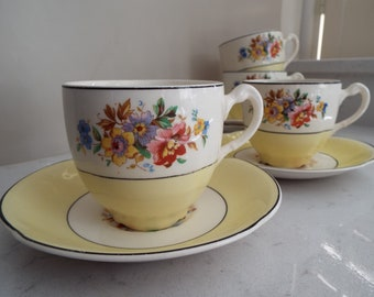 Vintage Yellow Pareek Teacup and Saucer. Johnson Bros Pareek Teacup. 1940s English Tea Cup and Saucer, Perfect For An Afternoon Tea Party