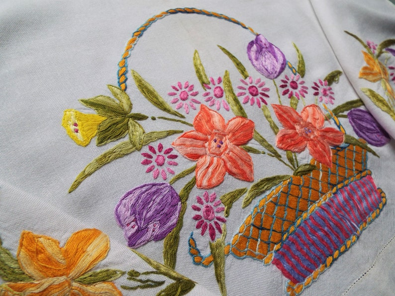 Vintage Linen Oblong Tablecloth With Spring Flowers In A image 0