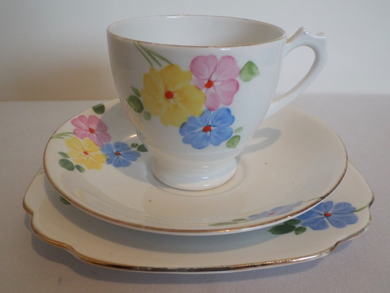 Vintage Teacup Trio 1930s. Tea Cup And Saucer and Cake Plate image 0