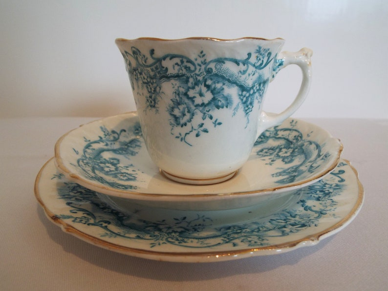 Victorian Teacup and Saucer And Cake Plate With Blue And White image 0