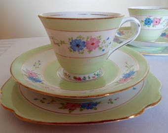 Vintage Green Teacup and Saucer By Standard China. English Vintage Tea Cup and Cake Plate Trio, Entirely Hand Painted With Beautiful Flowers