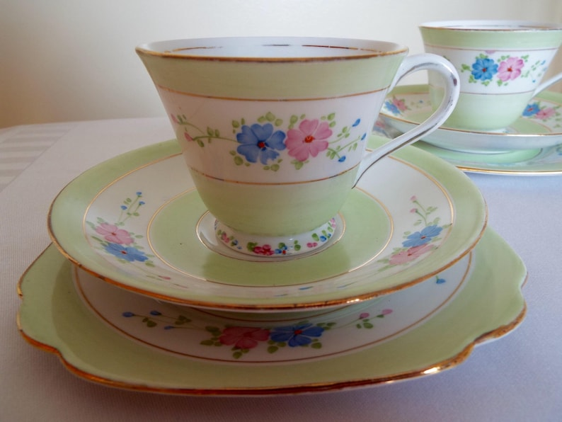 Vintage Green Teacup and Saucer By Standard China. English image 0