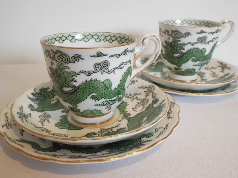 Vintage Teacup and Saucer With Oriental Green Dragons. image 0