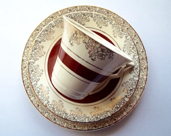 Vintage Tea Cup and Saucer, 1950s Burslem Midwinter Trio, Red Cream and Gold Pattern
