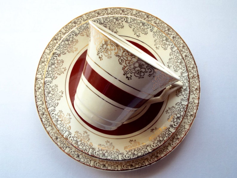 Vintage Tea Cup and Saucer 1950s Burslem Midwinter Trio Red image 0
