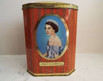 Vintage Commemorative Coronation Tin. English Vintage Tin With Queen Elizabeth II And Prince Philip. Rowntree Cocoa Tin. Vintage Kitchenware