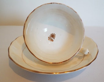 Victorian Gold And White Teacup and Saucer. English Victorian China Tea Cup Duo. Antique Gold And White Tea Set, For A Very Pretty Tea Party
