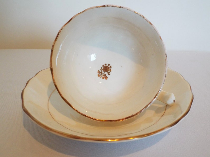 Victorian Gold And White Teacup and Saucer. English Victorian image 0