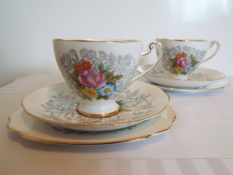 Pair of Roslyn Harmony Teacups With Summer Flowers Hand image 0