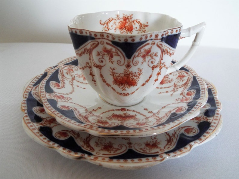 Edwardian Teacup and Saucer And Cake Plate Blue And Orange image 0