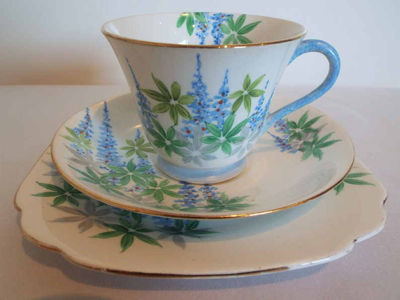 Vintage Blue And White Teacup And Saucer With Blue image 0