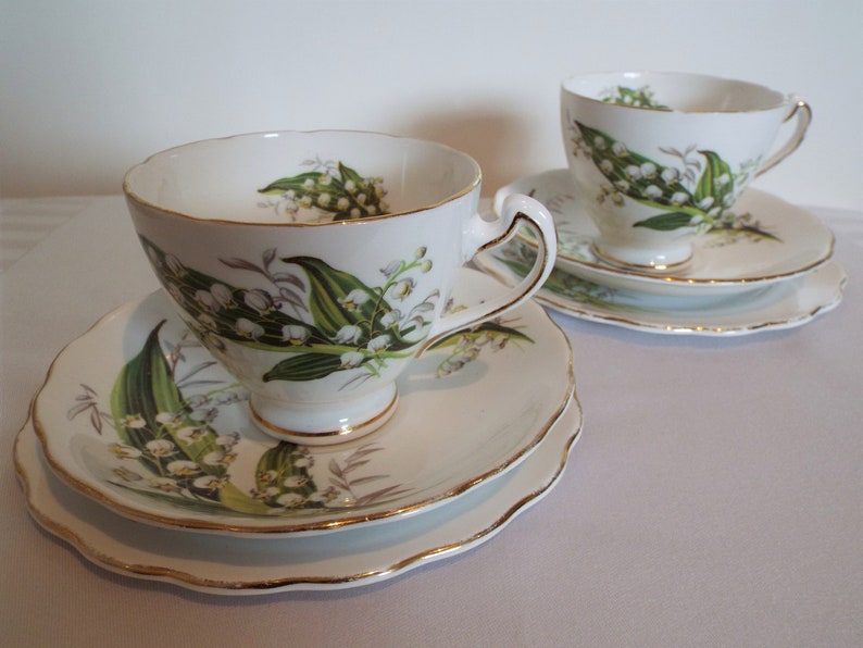 Vintage Colclough Lily Of The Valley Teacup and Cake Plate. image 0