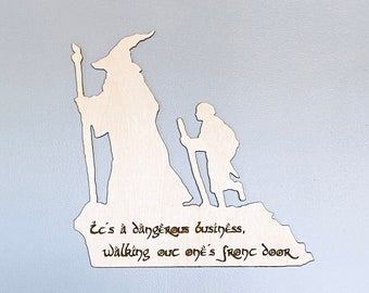 LOTR Fellowship and The Hobbit Frodo and Gandalf Silhouette Wall Art, woodwork