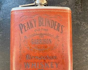 Peaky Blinders Hip Flask, Stainless Steel, Leather