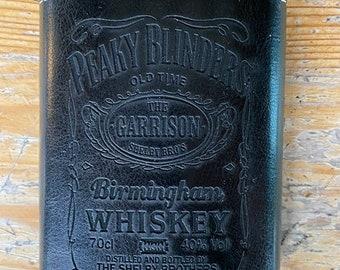 Peaky Blinders Hip Flask, Stainless Steel, Black Leather
