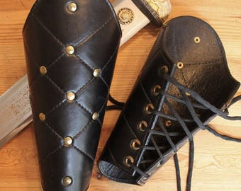 Set of Leather Studded Vambraces or Arm guard leather armor for Renn Faire or LARP