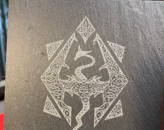Skyrim Dragon  Slate Coasters Set of 4
