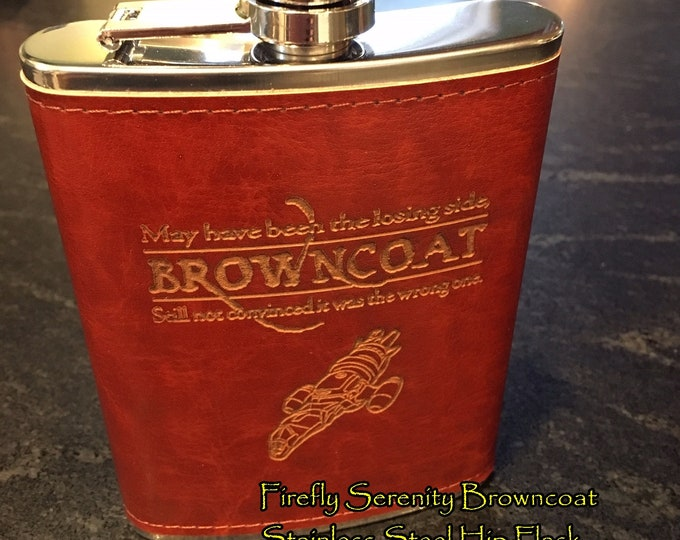 Featured listing image: Firefly Serenity Browncoat Hip Flask, Stainless Steel, Leather
