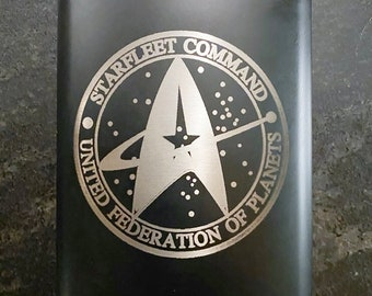 Starfleet Command United Federation of Planets Hip Flask, Stainless Steel