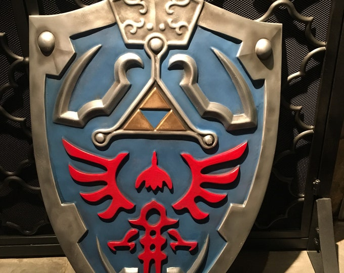 Featured listing image: Hylian Shield inspired, Legend of Zelda: Breath of the Wild Wall Decor and Cosplay Prop