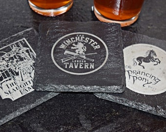 Fictional Pub and Bar Coaster Set of 4, Prancing Pony, The Slaughtered Lamb, Winchester Tavern, and Green Dragon