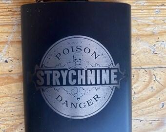 Strychnine Vintage Poison Label  Hip Flask, Stainless Steel
