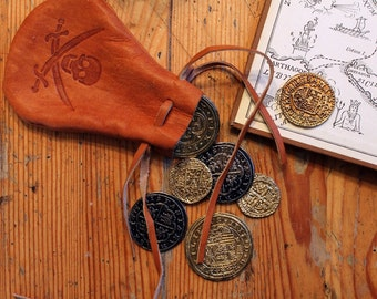 """Pirate Coins with small leather """"purse"""", great for Medieval Fantasy Cosplay, Pirate Booty"""