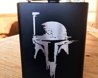 Boba Fett Mandalorian Stainless Steel hip flask