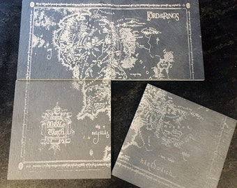 Lord of the Rings Middle-Earth Map Coasters Set of 4, , J.R.R. Tolkien Art barware