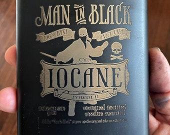 the Princess Bride Man In Black Iocane Powder Hip Flask, Black Stainless Steel