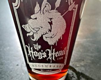 Hogs Head Beer Pub Pint Glass, Wizarding World HP Drinkware