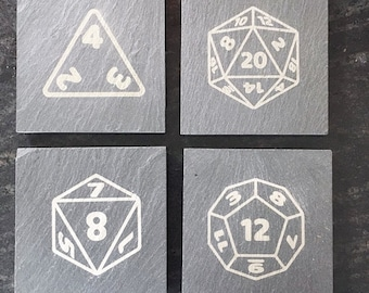 Gaming Dice 20 sided Die  Slate Coasters Set of 4, , Dungeon and Dragons dice coasters