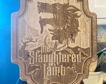 Slaughtered Lamb Sign from American Werewolf In London Wall Art, woodwork. Perfect for Kitchen or Bar