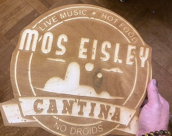 Mos Eisley Star Wars Wall Art, woodwork. Perfect for Kitchen or Bar