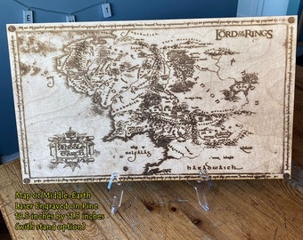 Lord of the Rings Map Wall Art, woodwork and Wood burning