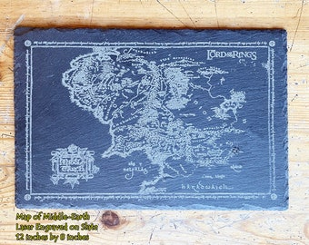 Map of Middle-Earth Slate Cheese board , from Fellowship of the Ring, LOTR