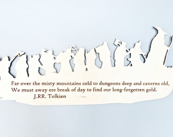 The Hobbit, Misty Mountains Cold, Dwarves, LOTR  Silhouette Wall Art, woodwork