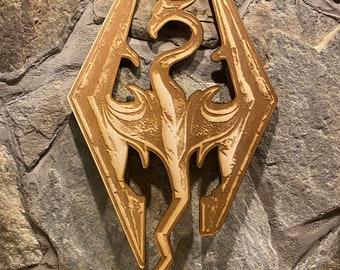 Skyrim Dragon Wall Art, woodwork and Wood burning