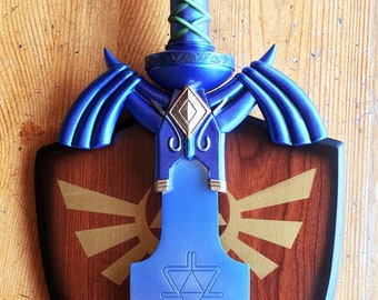 Custom painted Master Sword with wall mount, Legend of Zelda: Breath of the Wild Wall Decor and Cosplay Prop