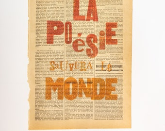 TYPOGRAPHIC PRINTING Poetry will save the world