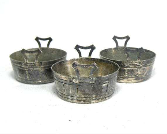 Trio of English Antique Silver Plated Salt Cellars