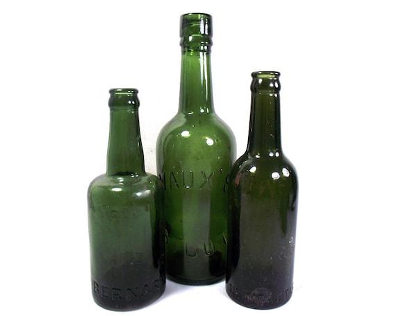 """10"""" Tall Vintage Set of 3 Green Glass Beer Bottles"""