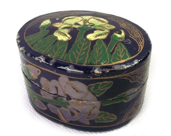 Vintage Kashmiri Papier Mache Trinket Box with Floral Decoration