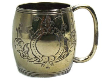 Antique Brass Baby Cup by Austin and Dodson, EPNS Christening Cup, Gem Child's Cup, Nursery Decor, Antique Christening Present, Baby Gift