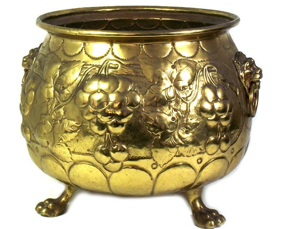 Large Brass Planter with Lion Head Handles